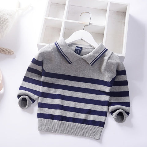 striped turn down collar boys elegant sweaters winter fall spring kids pullover knitted wear children's clothing