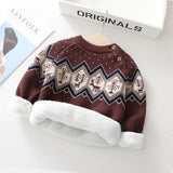 Autumn Girls Pullovers Baby Boys Rhombus Pinted Thick Sweaters Warm Babe Girls Sweater Winter Toddler Son Plush Clothing