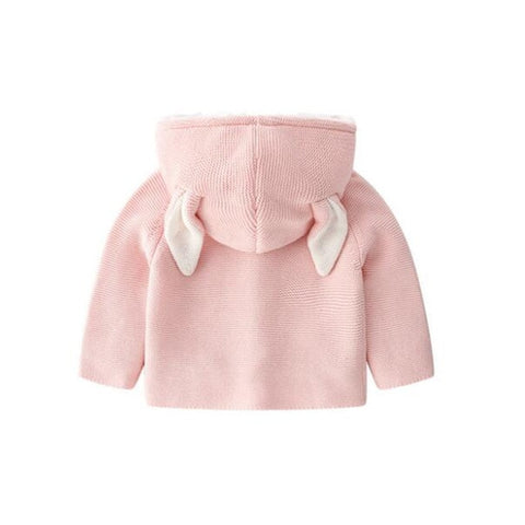 Knitted Baby Cardigan Rabbit Ear Baby Sweater Autumn Baby Jacket Coat Hooded Baby Girls Sweater Toddler Boys Sweater Cardigan