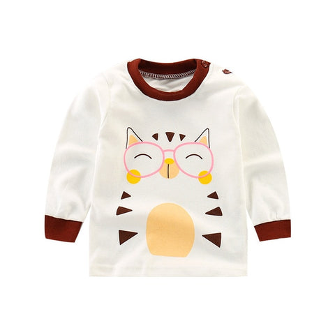 Luna Blanco Cotton Autumn Boy Girls T-Shirts Clothes 6M-5years Long sleeve girls tshirt Top Underwear Shirts Tops Fashion Style