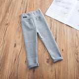 WLG girls casual pants kids solid black gray pink brown skinny all match pant baby girl spring autumn trousers