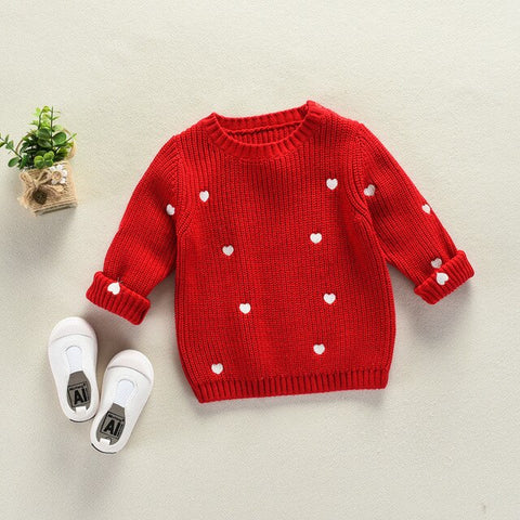 Girls Cardigan Kids Toddler Popcorn Sweater Cotton Heart Baby Girl Sweater Knit Children Autumn Sweater for Kids Girls Boy