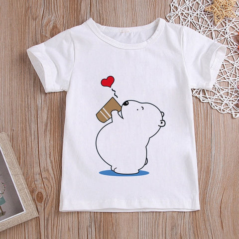 Boys T Shirt Cartoon Koala Say Hello Printing Toddler Shirts Fashion Girls Tshirt Harajuku Design Short Shirt Kawaii Summer New