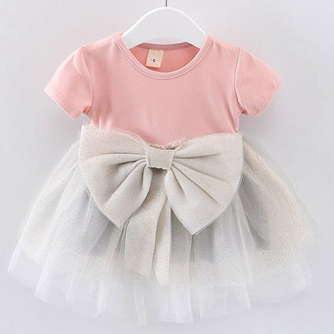 2019 New summer Baby Dress Lace Patchwork Toddler Kid Baby Girls Solid Bow Paillette Dress Tulle Tutu Princess Party Dress