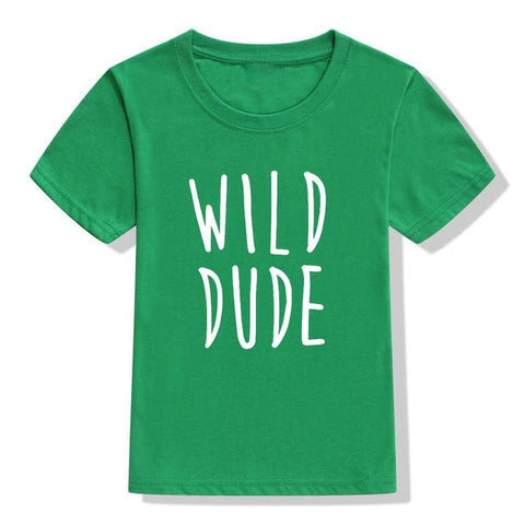 Wild Dude Letters Print Kids Tshirt Boy Girl T Shirt Brothers Sister Tee Children Toddler Clothes Funny Top Tees Drop Ship
