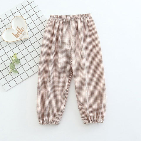 1Pc Girls Pants Baby Girls Summer Anti-Mosquito Pants Sports Casual Toddler Plaid Pattern Trousers For Kids