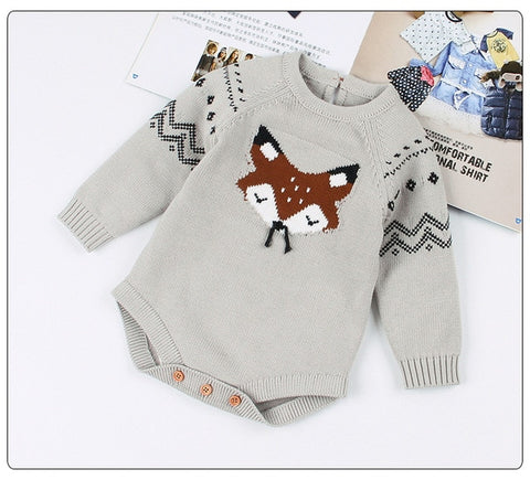 6~12months cotton knitted blue fox baby Sweater o neck long sleeves boy Sweater knitting inner clothes long sleeve sweater