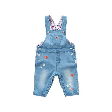 DBM13520 dave bella spring baby girls fashion floral strap pants children full length kids pants infant toddler bib trousers