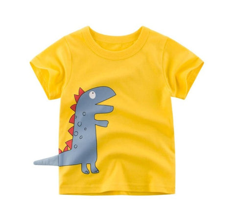 Boys t shirt summer shark dinosaur animal Printed baby girl t shirt Short Sleeve child t-shirt 2 4 6 8 years