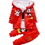 Kids Clothing Sets Spring Autumn Mickey Boys Suit Cotton Hooded Sweatshirt Coats Shirts Pants 3Pcs Suit Minnie Girls Clothes Set