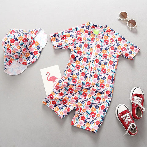 Swimsuit Girl Children Swimming Suit for Girls Long Sleeve UV Protection 2019 Cute Flamingo One Piece Child Bathing Clothes Baby