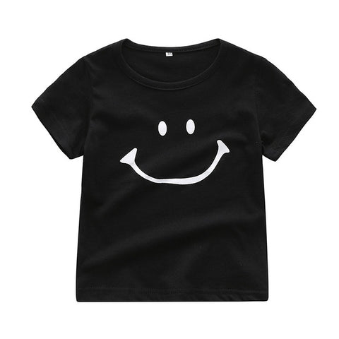 Summer Toddler Girl Boy Short Sleeve T-Shirts For Baby Smile Printed Tops Tees Shirts Casual Blouse Black And White