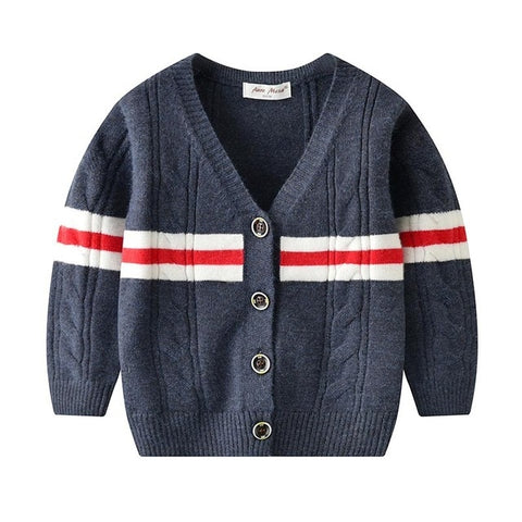 IYEAL Newest Boys Sweater Baby Boy Causal  V-Neck Patchwork Cotton Cardigan School Outerwear for Toddler Kids Clothes 1-3 Years