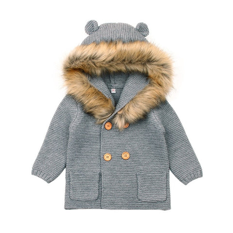 0-24M Winter Baby Boys Girls Knitted Cardigan Jackets Outfits Warm Autumn Infant Kids Fur Hooded Sweaters Long Sleeve Coat