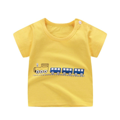Unini-yun children clothes 2018 summer baby boys clothes short sleeve t shirt bottle print Cotton brand tee tops toddler summer