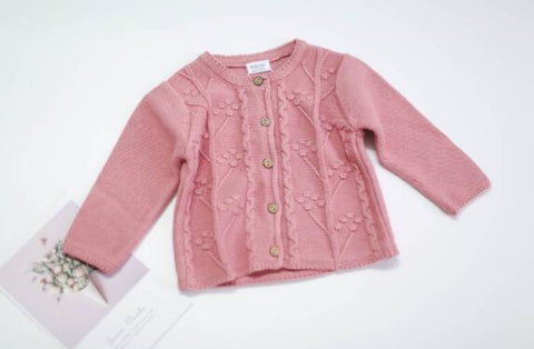 Baby Sweater Embroidery Newborn Girls Sweaters Cardigans Autumn Toddler Long Sleeves Knitwear Jackets Winter Children Knit Tops
