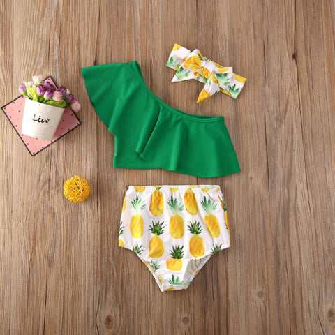 CANIS Toddler Kids Baby Girl Fruit Printed Ruffles Swimwear Pineapple Bow Bikini Swimsuit Swimming Clothes