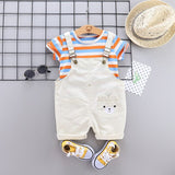 Summer Infant Clothing Set Baby Boy Clothes Sets Cute Striped Tops+ Overalls Baby Girl Outfit Newborn Set Short Sleeve