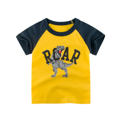 Baby Boys T Shirt Excavator Summer girls tops Cartoon Short Sleeve For Kids Boys Tee Dinosaur toddler Clothes