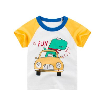 Boys T Shirt Excavator Summer girls tops Cartoon Short Sleeve For Kids Boys Tee Dinosaur toddler Clothes
