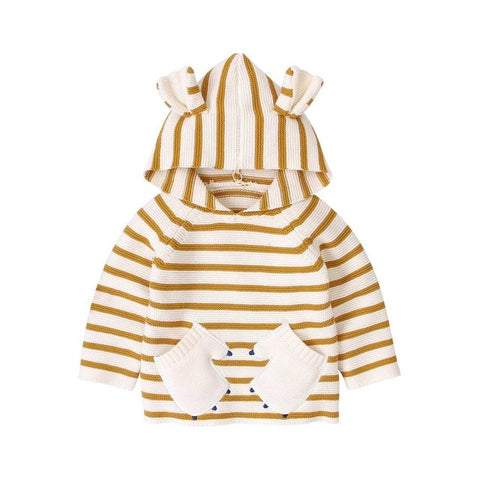 Newborn Baby Girl Sweaters Top Winter Warm Knitted Infant Jackets & Coats Autumn Hooded Toddler Knitwear Pullovers with Hood