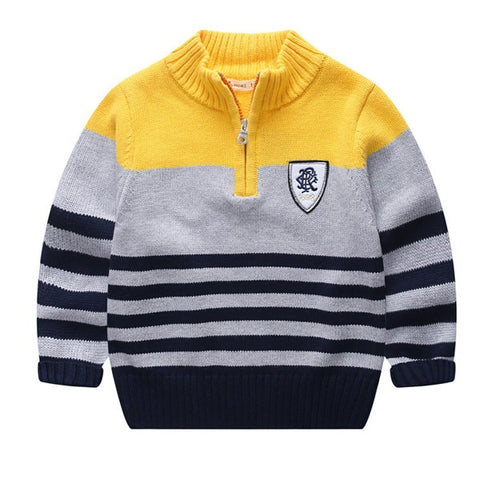 Copy of Children's clothes sweaters High-neck striped cotton sweater