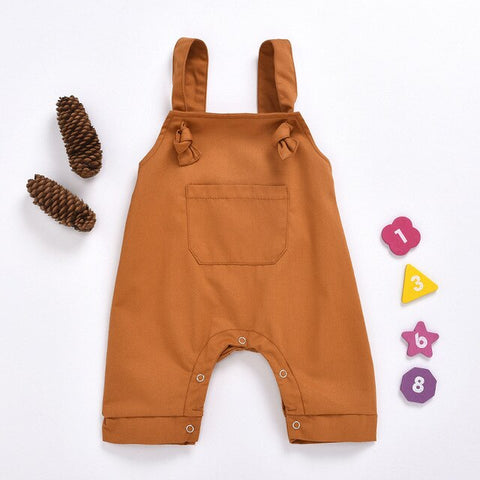 New Summer Infant Baby Overalls Fashion Wild Pocket Boys Girls Baby Bib Pants Leopard Suspenders Pant Kid Work Outfit 0-18M