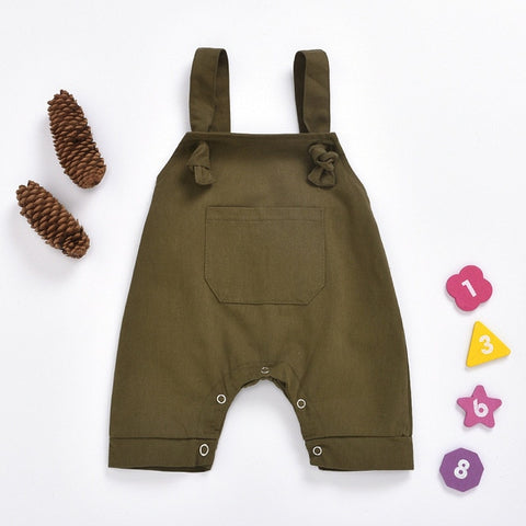 2020 New Summer Infant Baby Overalls Fashion Wild Pocket Boys Girls Baby Bib Pants Leopard Suspenders Pant Kid Work Outfit 0-18M