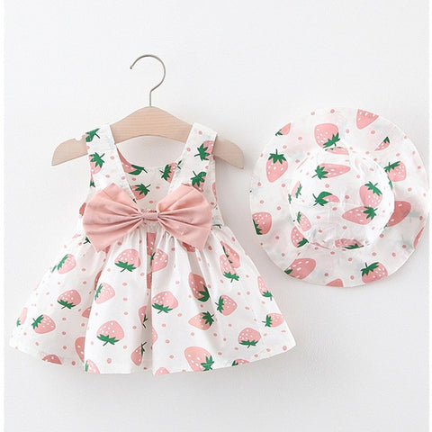 Baby Girl Clothes Summer Party Clothing for Girls Dress Strawberry Princess Dresses With Hat Outfits Children's Clothing 2 pcs