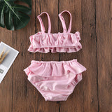 CANIS Toddler Baby Girls Ruffle Sling Fashion Lovely Swimwear Bow Bikini Swimsuit Swimming Costume