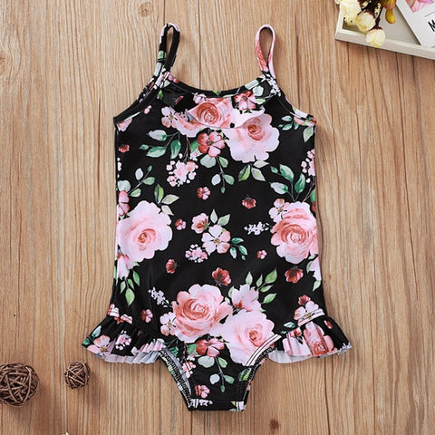 Malapina Toddler Girls One-Piece Swimsuit Set Children Watercolor Floral Print Off-Shoulder Kids Swimwear Summer Beach Clothes