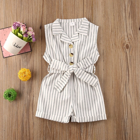 Pudcoco Toddler Baby Girl Clothes Summer Sleeveless Striped Print Overalls Romper Button Jumpsuit One-Piece Outfit Casual Set