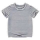 Toddler Girls Tee Solid Color t-shirts Baby  Girl T-shirts Summer striped Short Sleeve Kids Tees Children Clothing 7042 07