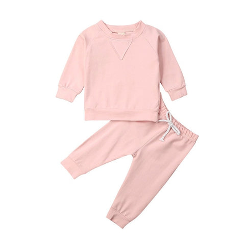 Girls Spring Autumn Clothing Infant Baby Girl Boy Unisex Solid Tracksuit Outfits Long Sleeve Top+Pant Clothes 2Pcs Set 6M-4T