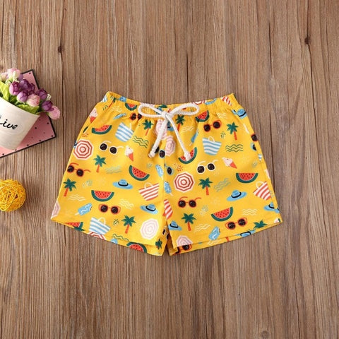 2020 Kids Shorts Baby Boys Beach Hot Pants Shorts Toddler Children Elastic waist Printed Beachwear Bathing Bottoms Clothing 0-4Y