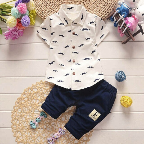 Toddler Boys Clothes Set Two Two-piece set Summer Fashion Gentlemen Beard T Shirt Tops+Shorts Pants Outfit Clothes Set