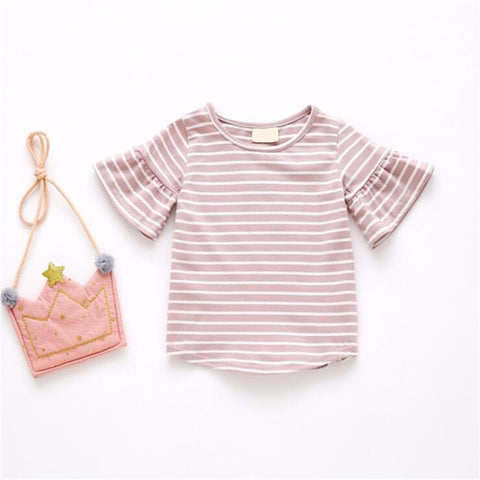 Flared Sleeve Baby Girls Cotton T-shirt for Children Kids Cute Striped Tops Clothes