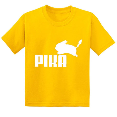 Children Pikachu Summer Cotton Baby Clothes Hot Sale Anime Pokemon Go Pika Logo Print Kids T-shirts Boys/Girls Tops Tees