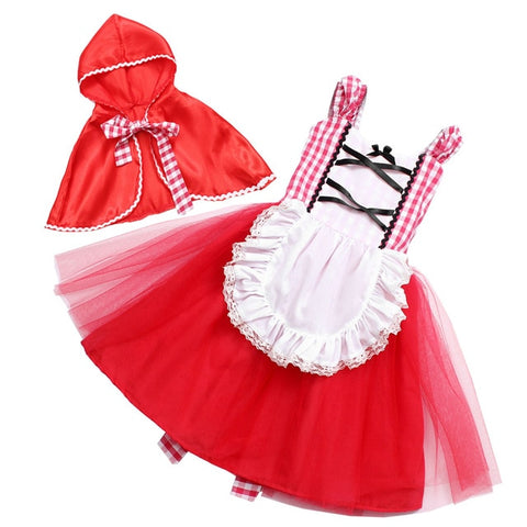 Red Riding Hood for Girls Halloween Costume Little Red Riding Hood Costume Baby Dress with Cape