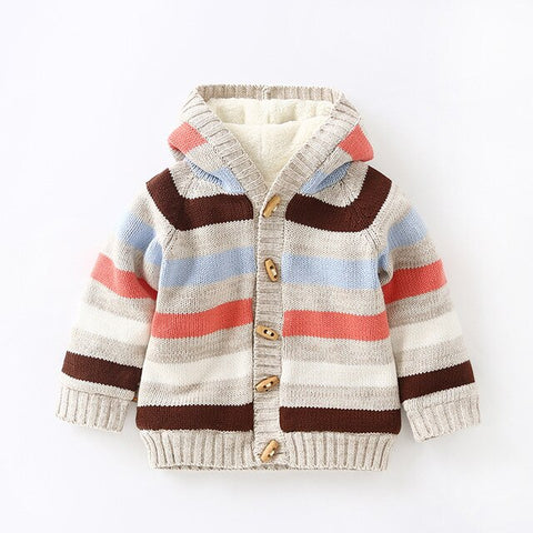 girls winter sweaters and tops cotton warm sweater toddler boy clothing fleece lined knitted coats striped knitwear clothes baby