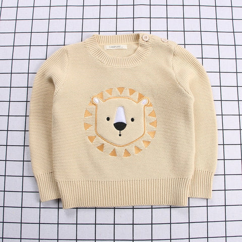 Boys Girls Sweater Baby Sweaters Kids Embroidery Cartoon Tops Cotton Sweater Ribbed Baby Clothes 1-6T  baby sweater