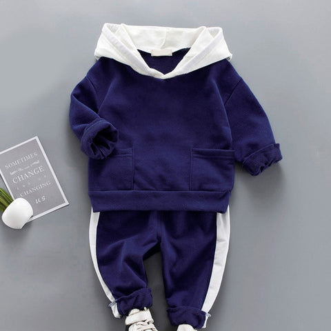 Toddler Boys Clothing Set Autumn Children Girls Sports Hooded Clothes Sets Baby Boy Splice Shirts Pants Clothes Suits
