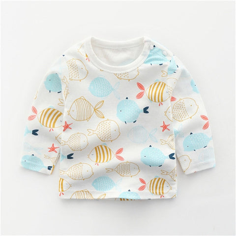 Autumn Baby Girls Boys Cotton Infants Tops Long-sleeved T-shirts Winter Toddler Casual Cartoon T Shirt Newborn Clothing Tshirt