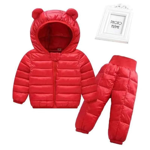 Toddler Winter Baby Girls Boys Clothing Sets Warm Faux Down Jacket Clothes Sets Children Kids Snowsuit Coats Vest Pants Overalls