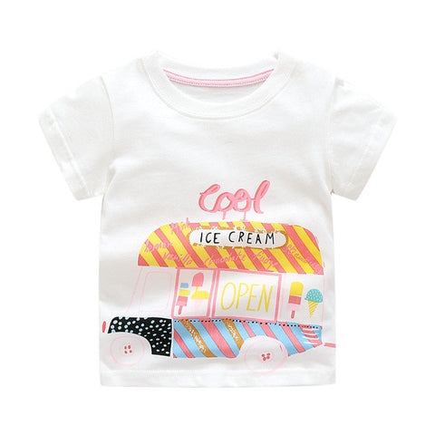 Baby clothes t shirts for girls summer t shirts cotton kids clothes animals print fashion ice cream t shirt girls