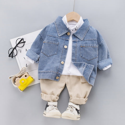 Fashion Autumn Children's Cotton Button Denim Coat +Top + Jeans 3 Pcs Suits Kids Clothes Sets Baby Boys Outfit Coat Suit