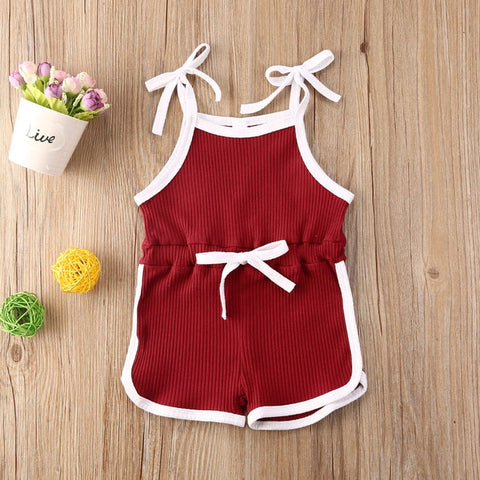 Summer Infant Baby Boys Girls Rompers Overalls Solid Sleeveless Belt Jumpsuits Cotton Knitted Casual Clothes 4 Colors