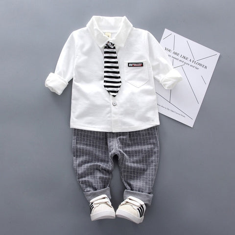 Boys Clothing Sets 2020 Spring Autumn Baby Boy Cotton Long-sleeve Tie Shirt Pants 2pcs outfits Kids Clothes Gentleman Suit 1-4Y