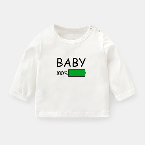 Funny Baby 100% Battery Print Toddler Tee Baby Long Sleeve T-shirts Kids T Shirt Tops 0-2 Years Girls Boys Gift Childs Christmas Present