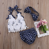 Pudcoco Toddler Infant Baby Girls Swimwear Clothes Anchors Tops Shirt Polka Dot Briefs Headband 3pcs Outfits Set